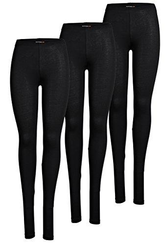 ONLY 3er Pack Leggings für Damen in schwarz - Blickdicht - Für Freizeit, Sport, Yoga oder Fitness aus 95% Baumwolle 15209151 (L, Schwarz (2017))