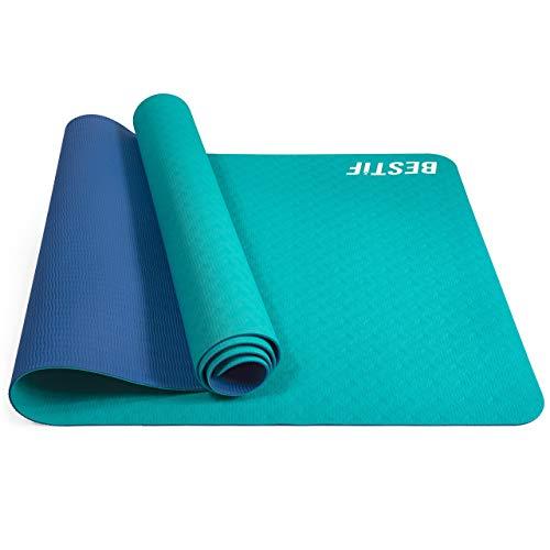 BESTIF Yogamatte rutschfest TPE 4mm Fitnessmatte Gymnastikmatte schadstofffrei Yoga Pilates Fitness 183 x 61 x 0,4cm (Türkis-Indigo, 183 x 61 x 0,4 cm)