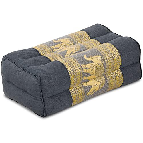 livasia Yogakissen, Stützkissen, Blockkissen mit Kapokfüllung, Meditationskissen (grau-Elefanten)