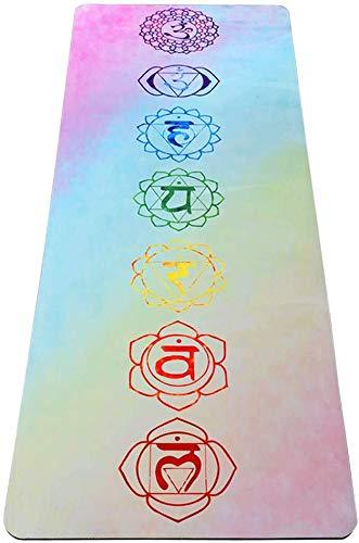 UMINEUX Yogamatte aus Naturkautschuk, umweltfreundlich, 5 mm dick, rutschfest, Veloursleder, 2-in-1-Matte und Handtuch, Premium-Druck, Trainingsmatte mit Tragegurt und Tasche, 183 x 67 cm