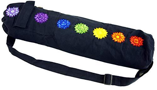 GURU SHOP Yogamatten-Tasche 7 Chakra - Schwarz, Herren/Damen, Baumwolle, Size:One Size, 65x15x15 cm, Taschen für Yogamatten