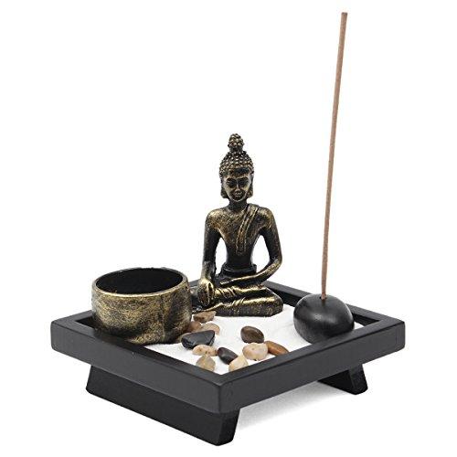 Jeteven Buddha -Statue Sitzend Chinesische Art Zen-Garten Harz Kerzenleuchter-Set Kerzenständer Teelichthalter Kerzenhalter (12x12cm)