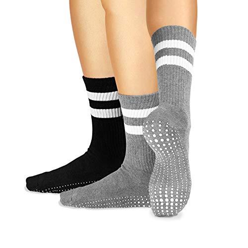 LA Active Grip Socken - 2 Paar - Yoga Pilates Barre Ballet Abs Noppen Rutschfeste Krankenhaus - Crew (Schwarz...