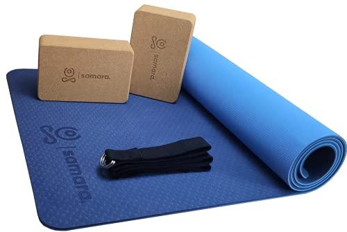 SAMARA. Yoga Set mit Premium Yogamatte, 2x100% ökologischem Yogablock aus Naturkork und hochwertigem Yogagurt - Rutschfeste, nachhaltige TPE Sport- und Fitnessmatte - für Anfänger und Fortgeschrittene