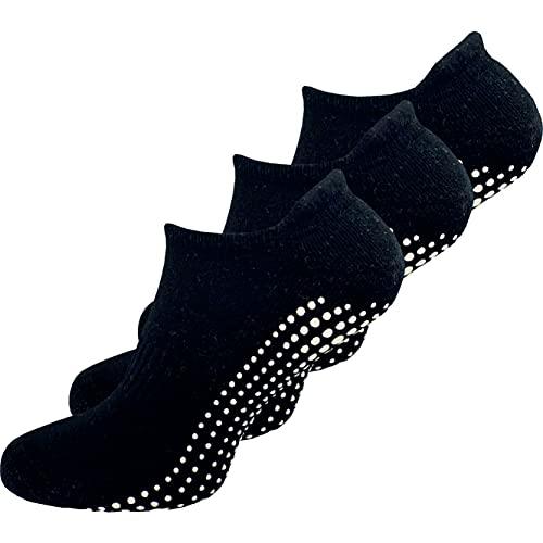 GAWILO 3 Paar Damen Yoga & Pilates Socken - Stopper Socken - sicherer Halt auf glatten Böden, ohne drückende Zehennaht (schwarz, numeric_39)
