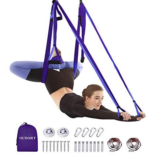 Oudort Aerial Yoga Hängematte Set, Yoga Schaukel Set mit 2 Verlängerungsgurten für Fitness zu Hause, Verbessern Flexibilität und Kernfestigkeit Montagezubehör inklusive, Dunkellila