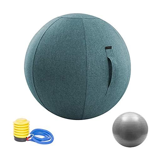 Ergonomischer Sitzball FüR BüRo, Yoga-Ball, Gymnastikball Geeignet FüR BüRo, Schwangerschaft, Geburt, Zuhause, Fitnessstudio, Pilates-GüRtelhüLle Und Pumpe(Color:Blue+Silver,Size:65cm)