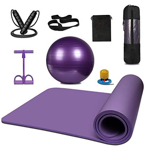 KEAFOLS 8er Yogamatte Gymnastikball inkl Ballpumpe Springseil Widerstandstraining Fitness Training Set Sportmatte Fitnessmatte für Yoga Pilates Ganzkörpertraining Bein Hüften Gym Krafttraining