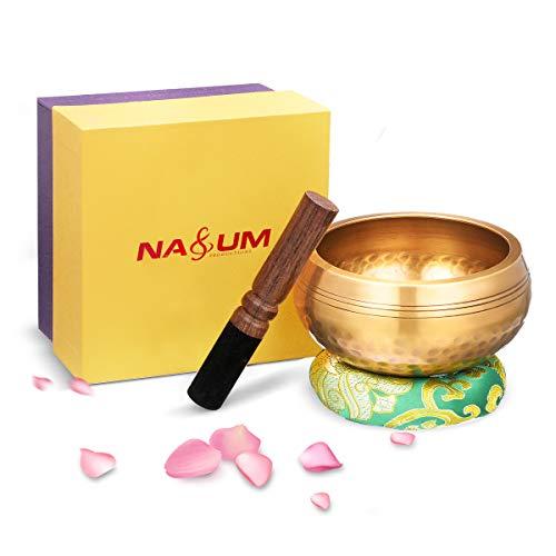 Klangschale NASUM tibetische Klangschalen Set mit Klöppel und Kissen. für Meditation Entspannung, Stress und...