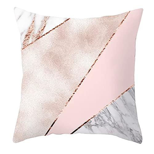 Agoble Kissenbezug Art, Kissenbezug Polyester 1 Stück 45X45cm Kissenbezug Rosa Grau Marmor Geometrisch