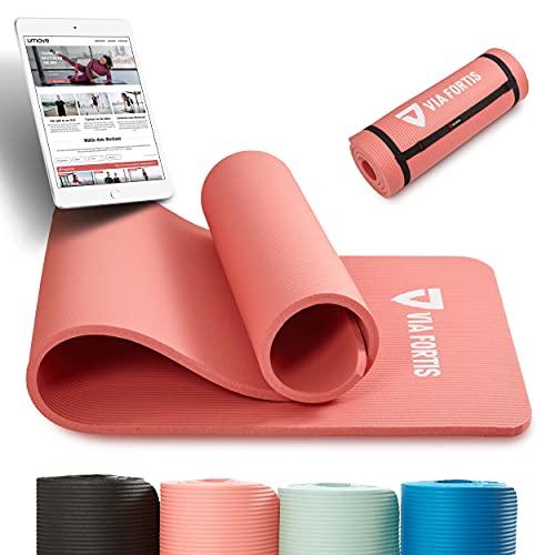 VIA FORTIS Gymnastikmatte inkl. Tragegurt - rutschfest & robust (193 x 61 x 1,5cm) - Sportmatte, Yogamatte ideal für Yoga, Pilates, Workout, Outdoor, Gym & Home
