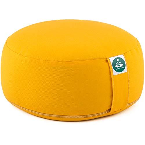 Present Mind Meditationskissen - Yogakissen Rund Zafu - Hergestellt in der EU - Sitzhöhe 16 cm - Waschbarer Bezug - 100% Natürliche Yoga Sitzkissen (Honiggelb)