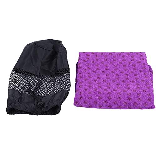Gmkjh Yogamatte, Handtuch Pilates Matte, Handtuch Gymnastikmatte, 185 cm x 63 cm rutschfeste Yogamatte Handtuch Yoga schweißabsorbierende Gymnastikmatte(Violett)