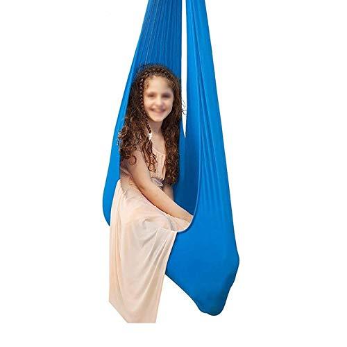 QHY Hängehöhle Aerial Yoga Tuch Kid Sensorischen Schaukel Innen Yoga Hängematte Anti-Gravity Aerial Keine Nähte (Color : Blue, Size : 100x280cm)