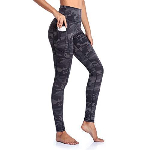 GIMDUMASA High Waist Leggings Damen Sport Fitness Yogahose Lange Blickdicht Leggings Yoga Hose Sporthose Leggins Fitnesshose mit Taschen GI188(Tarnunggrau,m)