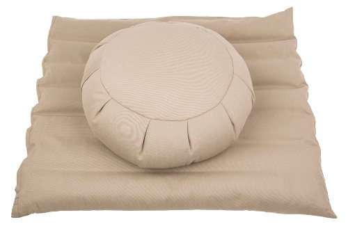 Meditationsset mit Füllung aus Buchweizenspelz (Zafu + Zabuton) sandgrau