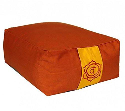 Raum der Stille Meditations und Yoga Kissen rechteckig 38x28x13cm mit Tragegriff Unterseite schwarz Diverse Farben gefüllt mit Buchweizenhülsen nachfüllbar (Orange)