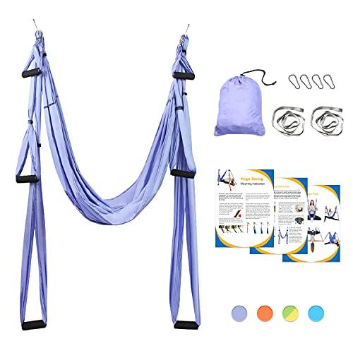 Sotech Aerial Yoga Schaukel Yoga Hängematte Set mit Tragetasche und Verlängerungsgurten, Trapez Sling für Home Gym Anti-Schwerkraft Inversion Pilate Fitness, bis 300KG belastbar, Lila
