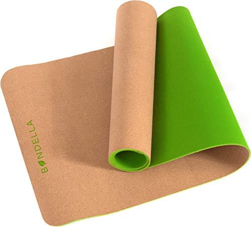 Bondella® Ahimsa Kork Yoga Matte - Premium Yogamatte rutschfest aus Kork & TPE - 183 x 61 cm - 5mm Dicke - Nachhaltige Yogamatte Kork mit Tragegurt - Die ideale Yogamatte rutschfest schadstofffrei