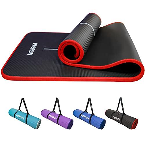 PROIRON Gymnastikmatte Phthalatfrei Sportmatte mit Tragegurt 183cm x66cm x1cm Fitnessmatte mit Randverstärkung Rutschfest für Pilates Yoga Sport (Schwarz + Rot)