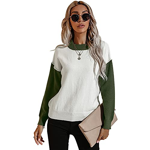 WangsCanis Color Block Damen Pullover mit Kapuze Sweatshirt Langarm T-Shirt Strick Top mit Kapuze Oversize Streetwear, grün, S