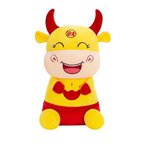 QLKJ Plüschspielzeug Rinder im Tang Anzug Rote Kuh Kalb Weiche Puppe Bolster Gefüllte Kissen Chinesisch 2021 Das Jahr Ochsen Sternzeichen Gefüllte Plüschtiere Segen Souvenir Geschenk Maskottchen