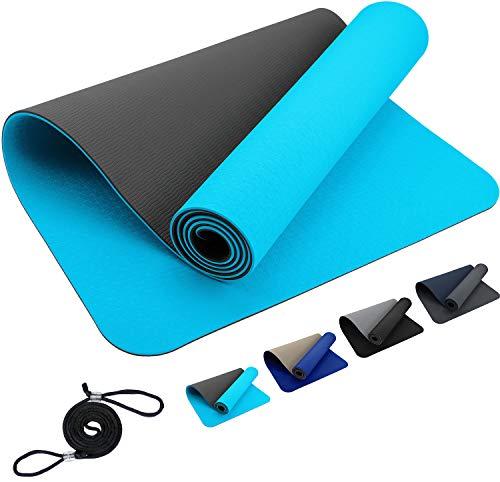 Premium ReFit Yogamatte aus hochwertigem TPE 6mm - hellblau grau Babyblau Himmelblau Lightblue SkyBlue Gray rutschfest eco schadstofffrei hypoallergen Fitness Pilates 183 x 61 x 0,6 cm mit Trageband
