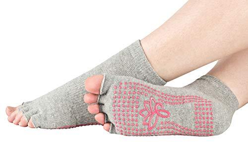 Piarini grau 1 Paar offene Zehensocken kurz ABS Socken Baumwolle Yoga-Socken offenen Zehen Pilates-Socken Fitness 39 40 41 42