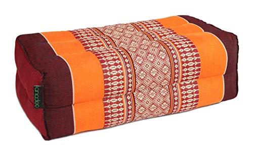 ANADEO YogaProducts Standard Yoga und Meditationskissen Zafu – Bio-Material 100% Kapok gefüllt – hohe Dichte – feste Dämpfung für optimalen Komfort und Stabilität – Burgunderrot Orange – X1