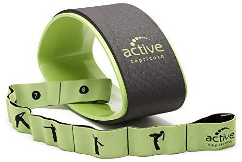 active capricorn Yogaset mit Yogarad und Yogaband in Grün - Robustes Yoga Set mit stabilem Rad und...