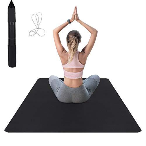 Fitnessmatte breit, xxl 183x122x0.6cm, Yogamatte aus TPE mit Tragegurt&Tasche, Trainingsmatte rutschfest, große Sportmatte für Zuhause, Schwarz&Grau