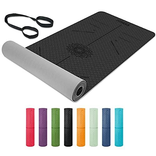 Yogamatte, TPE Gymnastikmatte rutschfest Fitnessmatte für Workout Umweltfreundlich Übungsmatte Sportmatte für Yoga, Pilates Heimtraining, 183 x 61 x 0.6CM