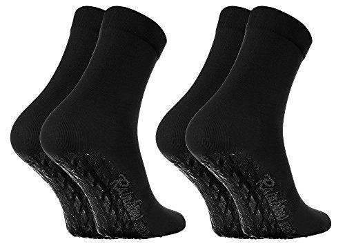 Rainbow Socks - Damen Herren Bunte Baumwolle Antirutsch Socken ABS - 2 Paar - Schwarz - Größen 44-46