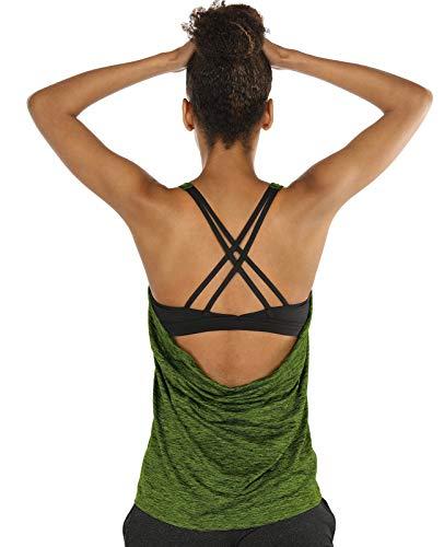 icyzone Damen Sport Yoga Top mit BH - 2 in 1 Fitness Shirt Cross Back BH Training Tanktop (S, Green Heather)