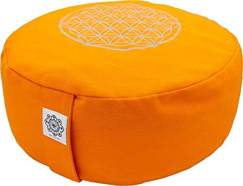 Lichtkraft Premium Meditationskissen - Yogakissen rund - Bezug 100% Baumwolle waschbar - Höhe: 15cm (anpassbar) - Buchweizenspelz - Blume des Lebens