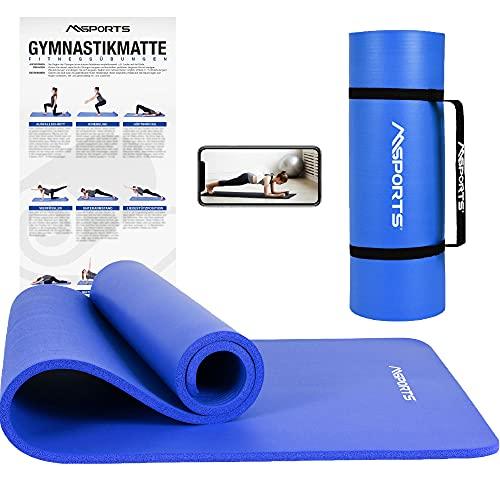 MSPORTS Gymnastikmatte Premium inkl. Tragegurt + Übungsposter + Workout App I Hautfreundliche Fitnessmatte...