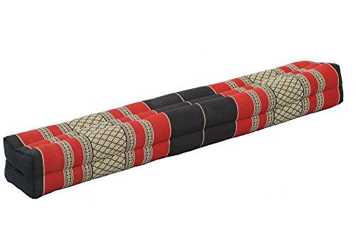 Handelsturm Pranayama/Yogakissen, rechteckig lang 110x17x10, Thaikissen mit 100% natürlicher Kapokfüllung (schwarz & rot)