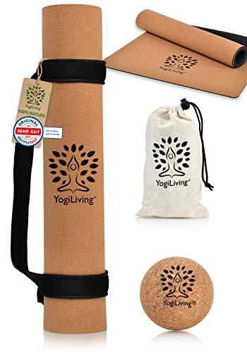 YogiLiving Yogamatte XL | 100% natürliche Yogamatte Kork & Naturkautschuk [5mm] | Yogamatte rutschfest & schadstofffrei | Yogamatte Tragegurt aus weichem Neopren & Faszienball im Set