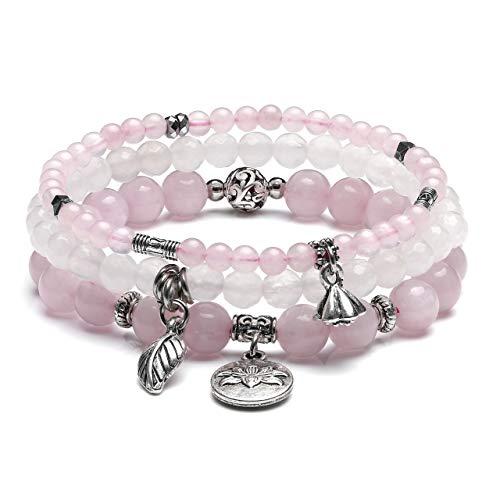 CrystalTears 3er Set Yoga Armbänder Damen Stein Perlenarmband Healing Reiki Edelstein Stretcharmband Silber Lotus Charm Armband (Rosenquarz)