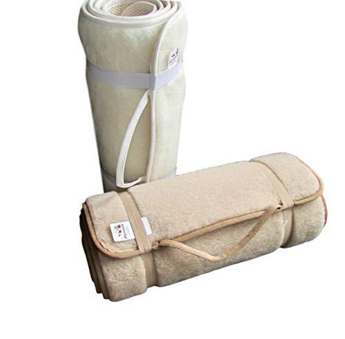 Alpenwolle Sportmatte rutschfest, Yogamatte,Gymnastikmatte, Fußmatte,Bettteppich 100% Wolle (beige, 75x180...