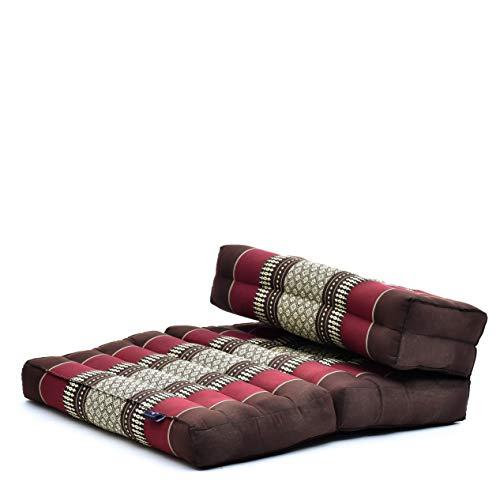 Leewadee Faltbarer Meditationssitz Yoga Sitzkissen platzsparendes universelles Meditationsset ökologisches Naturprodukt, Kapok, braun rot
