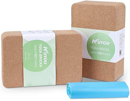 Yoga Kork 2er Set - Yoga Block Kork stabil & rutschfest 76mm Pilates & Hatha Klotz Natur Korkblock für Yoga und Fitness Cork Brick – Yogaklotz 100% Naturkork Mit Yoga Gurt