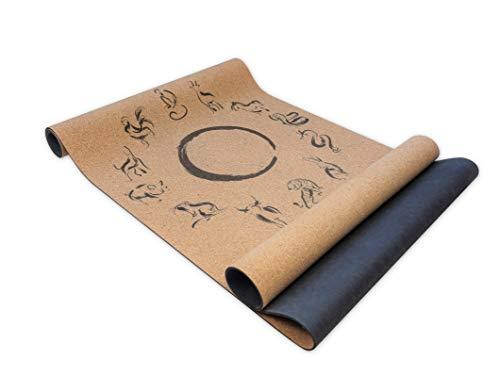 ZODIAC CYCLE Premium Yogamatte Kork - nachhaltig, rutschfest (ideal für Hot Yoga), 100% recyclebares Material, vegan - Yoga Matte aus Kork und Naturkautschuk, [183 x 61 x 0,4 cm]