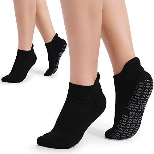 Yoga Socken für Damen rutschfest,2 Paar, Ideal für Yoga Pilates, Ballett,Tanz,Barre,Fitness,...