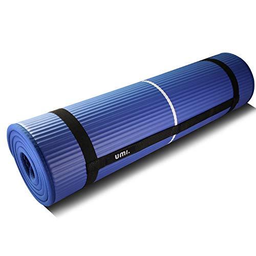 Amazon Brand - Umi - Fitnessmatte Sportmatte Rutschfest Extra-Dick Yogamatte NBR Pilates Mat mit Tragegurt für Yoga Pilates Fitness Gymnastik Training 10mm (Blau)