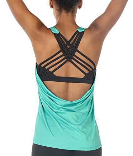 icyzone Damen Sport Tops mit Integriertem BH - 2 in 1 Yoga Gym Shirt Fitness Training Tanktop (M, Florida...