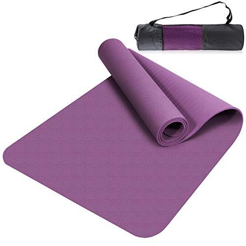 Yogamatten Gymnastik Fitness-matten TPE Yoga mat, Übungsmatte Dünne rutschfeste Yogamatte Outdoor Sportmatte für Pilates,Fitness,Sport und Training Yogamatte 183 x 61 x 0.6 cm Violett
