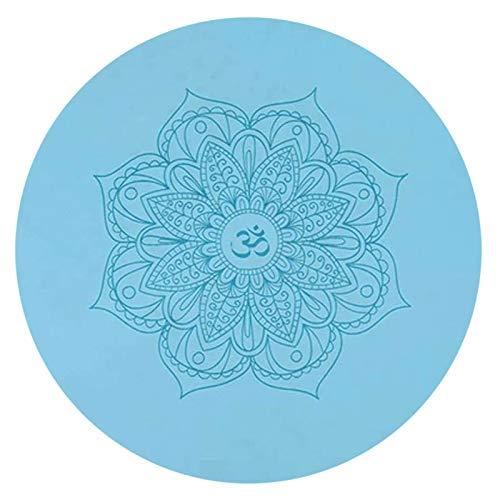 FKING Runde PU YogaMatte rutschfest Bedruckte Bodenmatte mit Meditationsmatte Aus Naturkautschuk 60 x 60 x 0.5 cm (23.6 x 23.6 x 0.2 Inch)-Blau