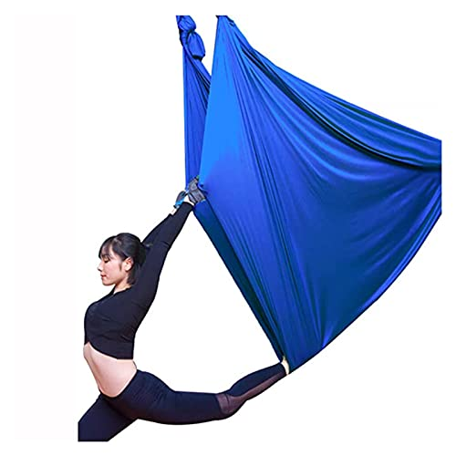 Pkssswd Premium Aerial Yoga Tuch Hängematte Set Deluxe Pilates Aerial Kit Sichere Yoga Swing 200 kg Ladung für Antigravity Luftfitness -Q (Color : Blue, Size : 6X2.8M)