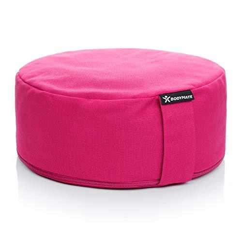 BODYMATE Yogakissen rund 31cm Durchmesser 13cm hoch Pink mit Buchweizen-Spelz Füllung – Maschinenwaschbarer...
